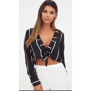 Prettylittlethings Black Stripe Cropped Blouse